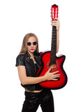 The young woman guitar player isolated on white Stock Photo