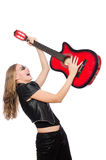 The young woman guitar player on white Stock Image