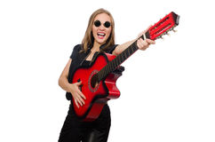 The young woman guitar player on white Royalty Free Stock Photo