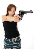 Young woman with a gun Royalty Free Stock Photos