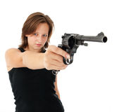 Young woman with a gun Stock Image