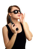 Young woman with gun Stock Image