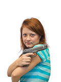 Young woman and gun Stock Photo