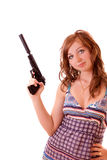 Young woman with gun isolated Stock Photography