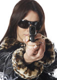 Young woman with a gun isolated Stock Photos
