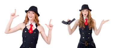 The young woman with gun isolated on white Royalty Free Stock Photos