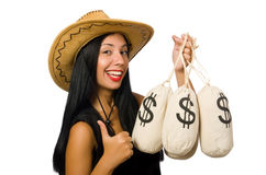Young woman with gun and money sacks Royalty Free Stock Image