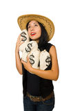 The young woman with gun and money sacks Royalty Free Stock Image