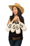 Young woman with gun and money sacks Royalty Free Stock Photos