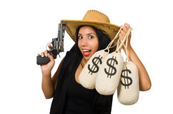 The young woman with gun and money sacks Stock Photo