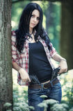 Young woman with guns Stock Image