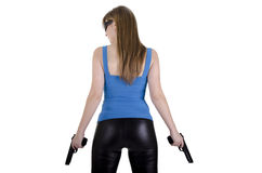 Young woman with guns Stock Photo