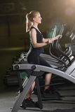 Young woman at the gym exercising. Run on machine. Royalty Free Stock Photos