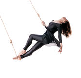 Young woman gymnast on the rope Stock Photo