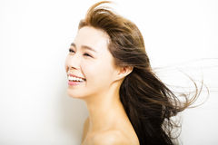 Young Woman  with hair motion on white Royalty Free Stock Image