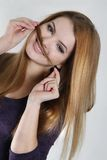 Young woman with hair moustaches Stock Images