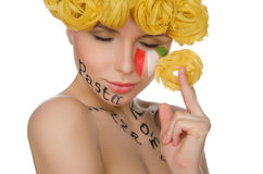 Young woman with hair pasta and symbols of Italy Royalty Free Stock Photos