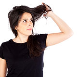 Young woman with hair problems Royalty Free Stock Photos
