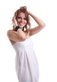 Young woman with hair smile in white cloth Royalty Free Stock Images