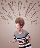 Young woman with hair style and hand drawn exclamation signs Stock Photos