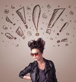 Young woman with hair style and hand drawn exclamation signs Royalty Free Stock Images