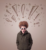 Young woman with hair style and hand drawn exclamation signs Royalty Free Stock Image