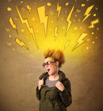Young woman with hair style and hand drawn lightnings Royalty Free Stock Image