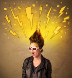 Young woman with hair style and hand drawn lightnings Stock Photography