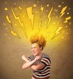 Young woman with hair style and hand drawn lightnings Royalty Free Stock Photo