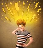 Young woman with hair style and hand drawn lightnings Stock Photo