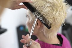 Young woman at hairdresser Stock Photography