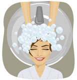 Young woman with hairdresser washing head at hair salon. Happy young woman with hairdresser washing head at hair salon vector illustration
