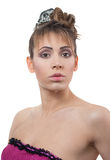 Young woman with hairstyle. Studio portrait of young woman with hairstyle over white royalty free stock photography