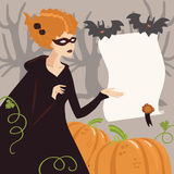 Young Woman in Halloween Costume. Young Woman in Halloween Witch Costume Stock Illustration