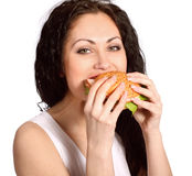 Young woman with hamburger Royalty Free Stock Images