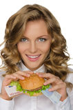 Young woman with hamburger from euro Stock Photos