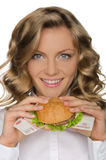 Young woman with hamburger from RUR Royalty Free Stock Image