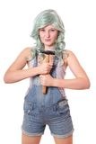 Young woman with hammer Stock Images