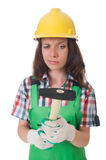 Young woman with hammer Royalty Free Stock Photo