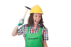 Young woman with hammer Royalty Free Stock Photography