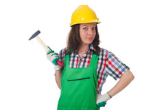 Young woman with hammer Royalty Free Stock Photos