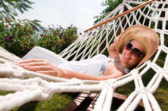 Young woman in hammock Stock Photography