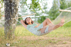 Young woman on hammock Royalty Free Stock Photography