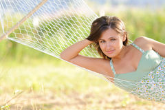 Young woman on hammock Royalty Free Stock Images