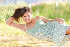 Young woman on hammock Stock Photo