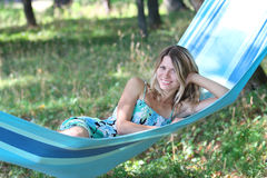Young woman in a hammock Royalty Free Stock Images