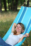 Young woman in a hammock Stock Photo