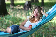 Young woman in a hammock Stock Image