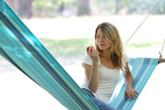 Young woman in a hammock Royalty Free Stock Photo