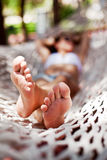 Young woman in hammock. Stock Image